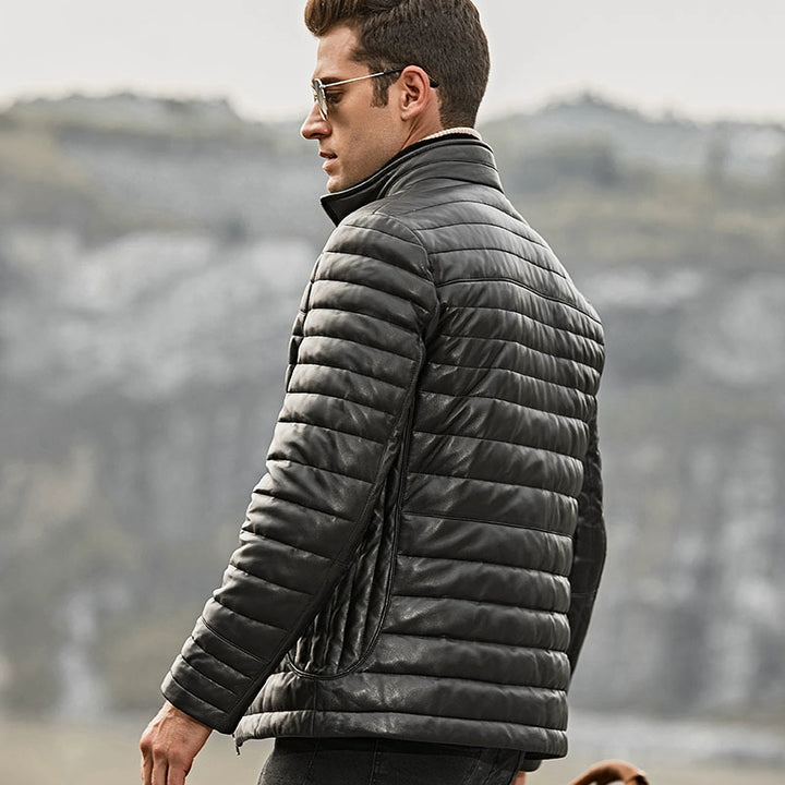 Men's Winter Genuine Leather Down Jacket With Removable Fur Collar