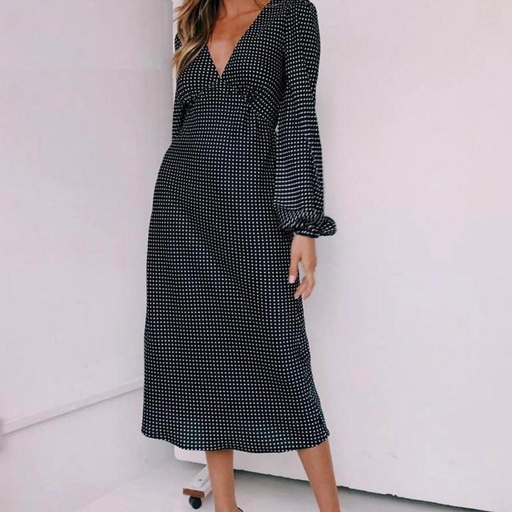 Women's Spring Long-Sleeved V-Neck Long Dress