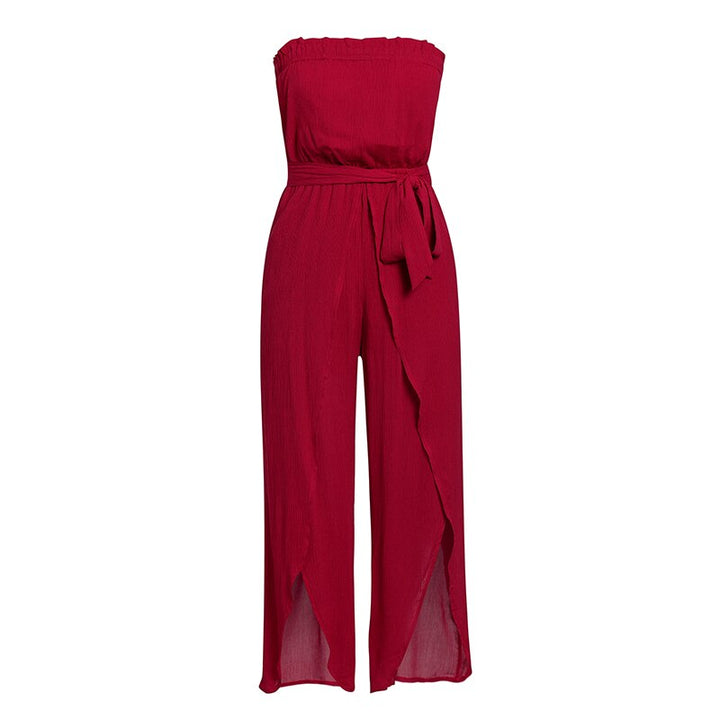 Women's Summer Casual Ruffled Rayon Off-Shoulder Jumpsuit