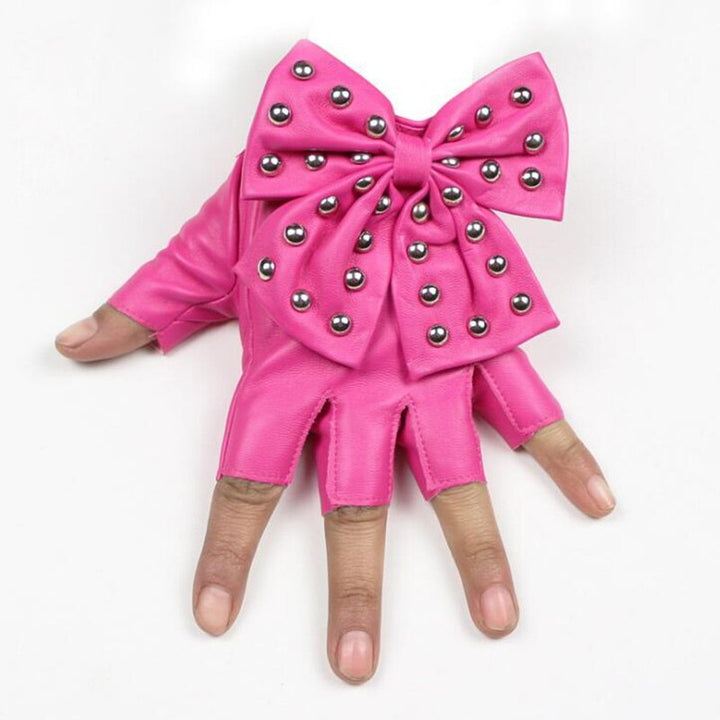 Women's Leather Fingerless Gloves With Bow