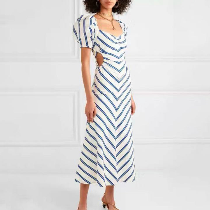 Women's Summer Casual V-Neck A-Line Striped Long Dress
