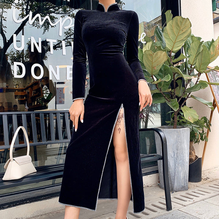 Women's Long Sleeve Bodycon Split Dress With Stand Collar