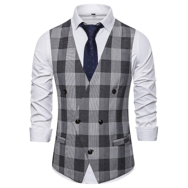 Men's Double Breasted Plaid Vest