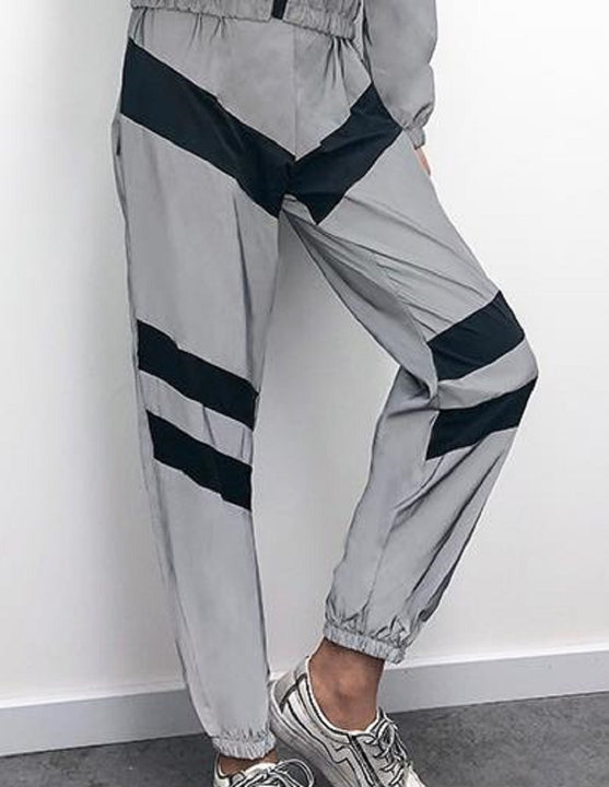 Women's Spandex Reflective Joggers With Elastic Waist