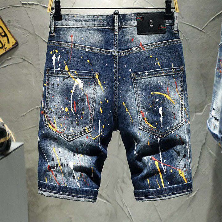 Men's Summer Ripped Denim Shorts With Print