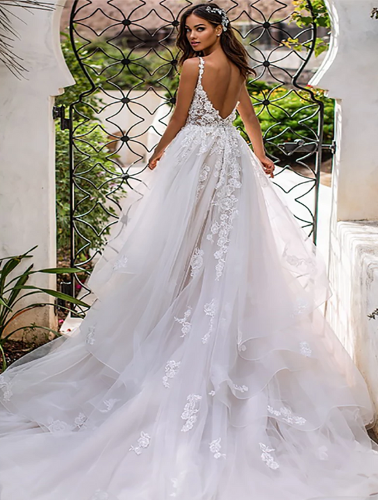 Women's Deep V-Neck Backless Long Wedding Dress