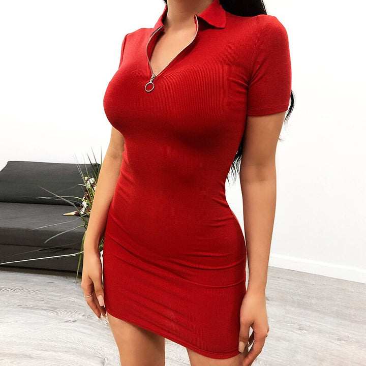 Women's Summer Cotton Solid Bodycon Short Sleeve Dress