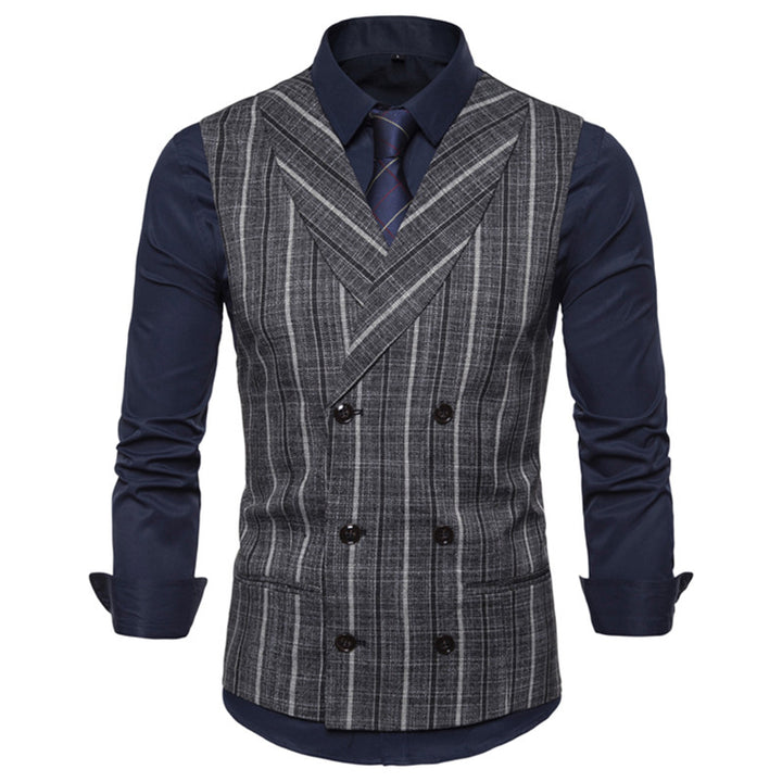 Men's Casual Double Breasted Plaid Vest