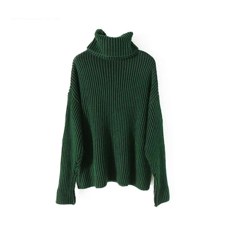 Women's Casual Acrylic Long-Sleeved Striped Pullover