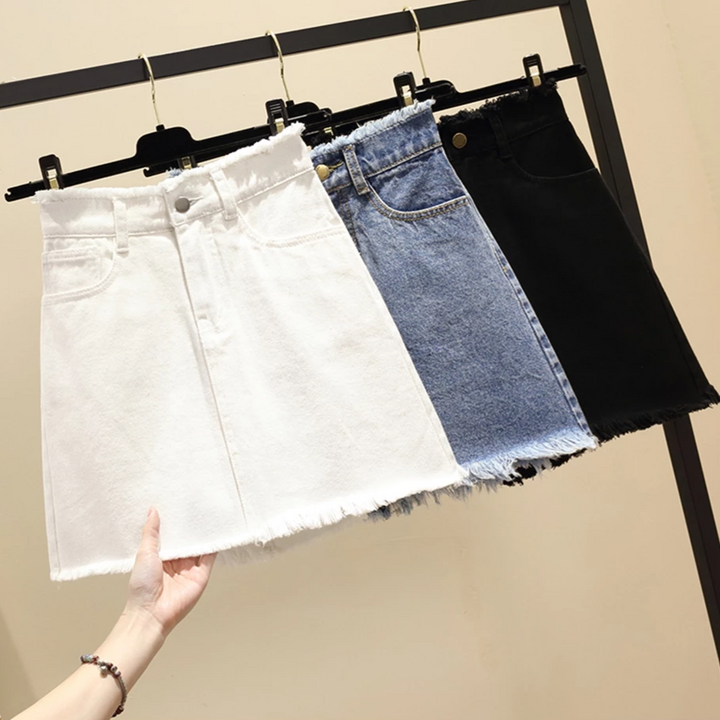 Women's Summer A-Line High-Waist Mini Denim Skirt