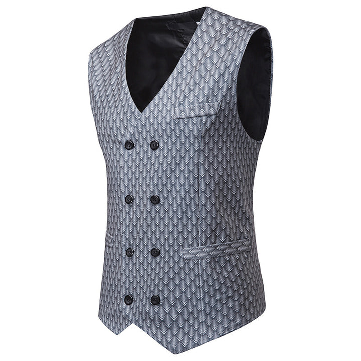 Men's Double Breasted Vest With Print