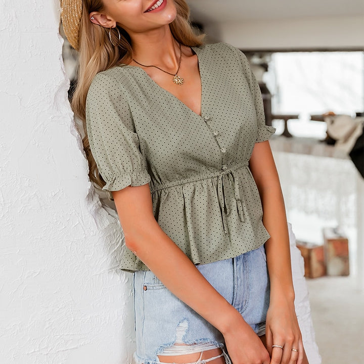 Women's Summer Casual V-Neck Puff-Sleeved Crop Top