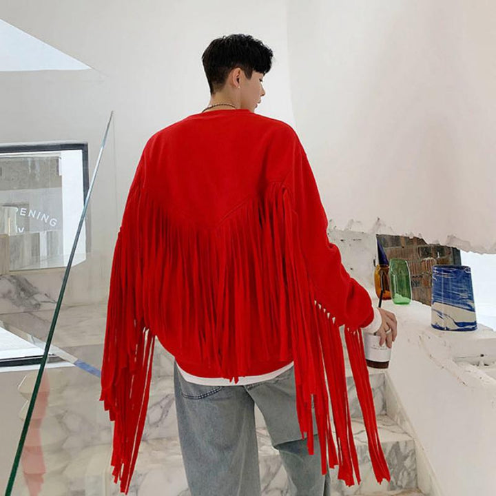 Men's Casual Sweatshirt With Long Tassels