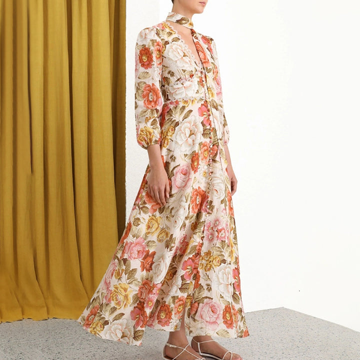 Women's Summer Casual High-Waist Long Dress With Print