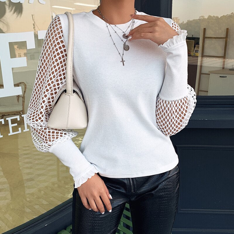 Women's Spring Casual Solid Loose Long Sleeve T-Shirt