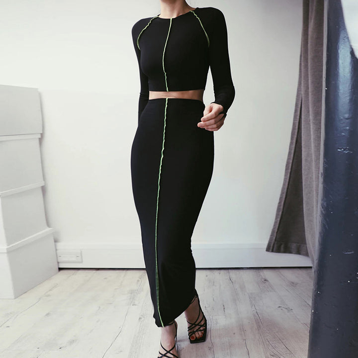 Women's Long Sleeve Elastic Skinny Two-Piece Dress With Stripes