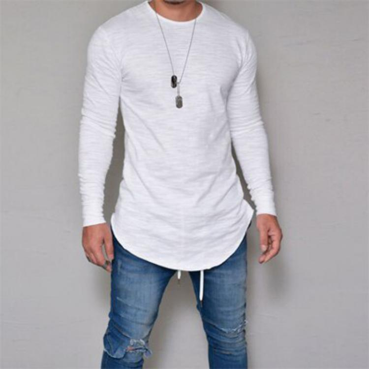 Men's Spring Long Sleeved T-Shirt With O-Neck Collar