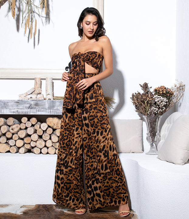 Women's Chiffon Two-Piece Jumpsuit With Leopard Print