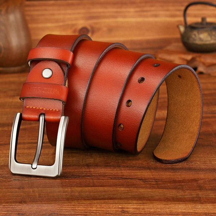 Men's Casual Genuine Leather Belt With Pin Buckle