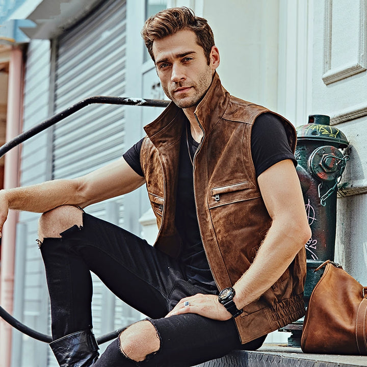 Men's Casual Leather Vest With Stand Collar