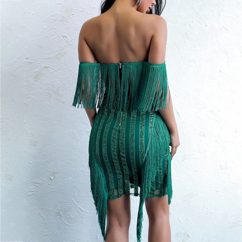 Women's Autumn Backless V-Neck Sequin Dress With Tassels