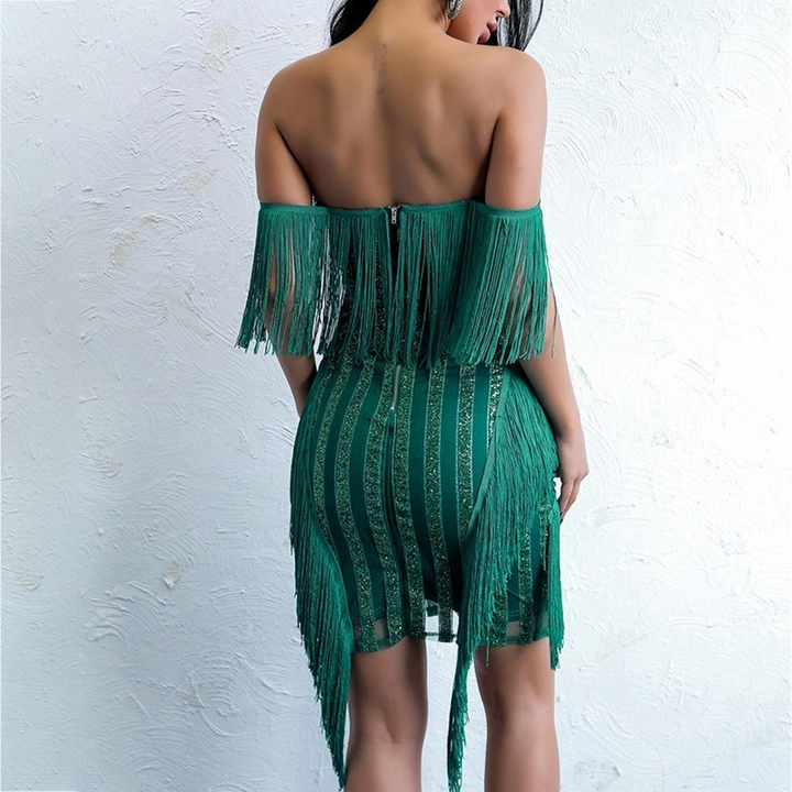 Women's Summer Backless V-Neck Sequin Dress With Tassels
