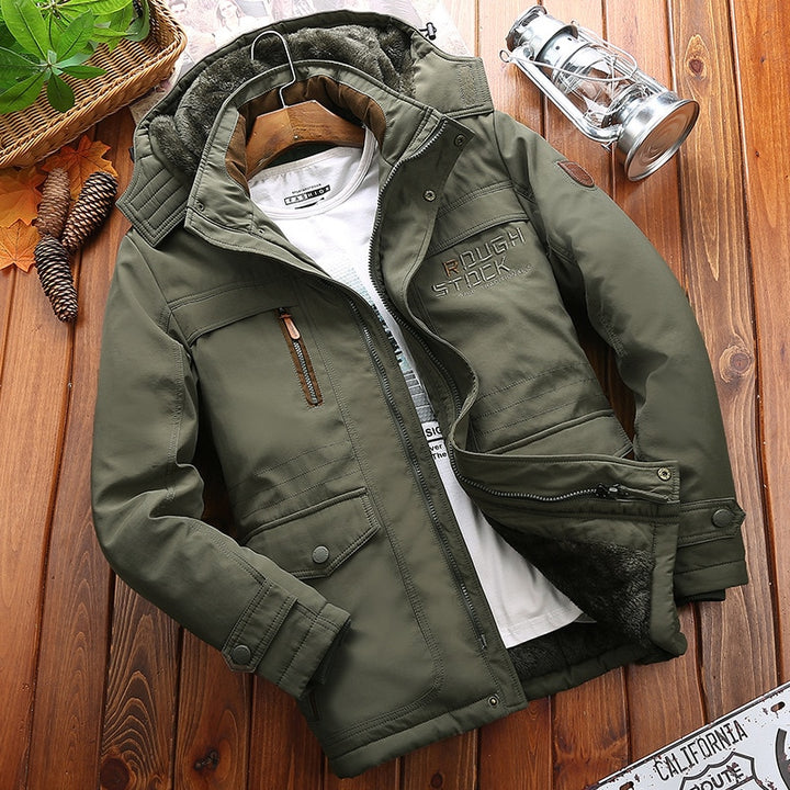 Men's Winter Casual Warm Polyester Hooded Parka