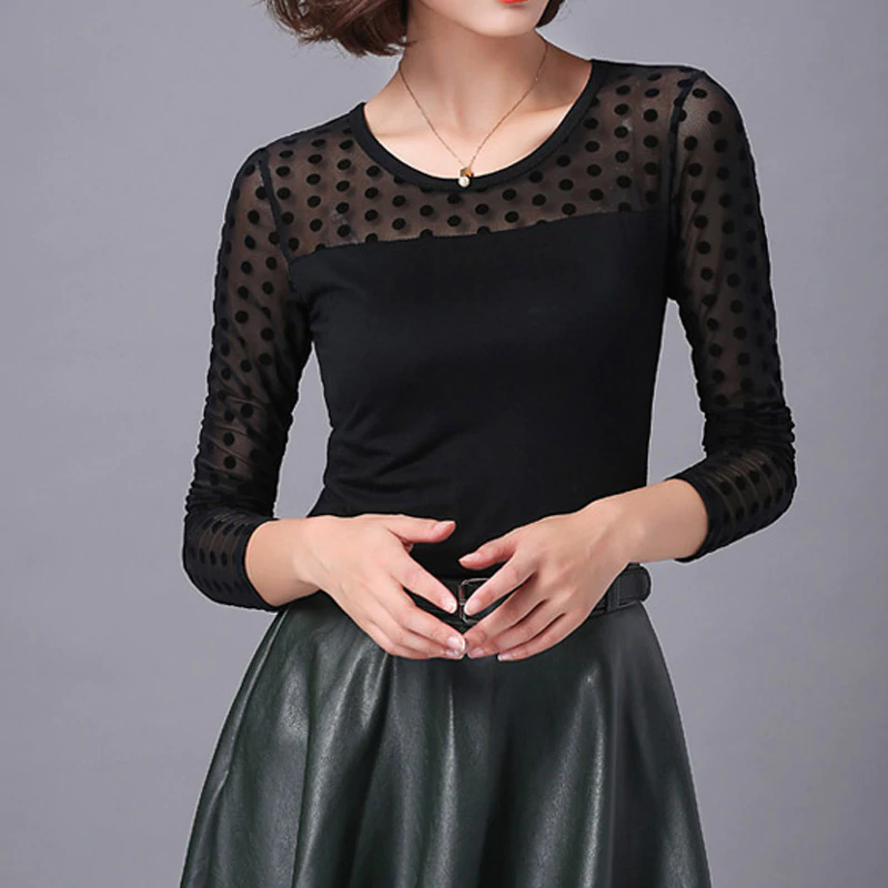 Women's Summer Casual Lace O-Neck Long-Sleeved Blouse