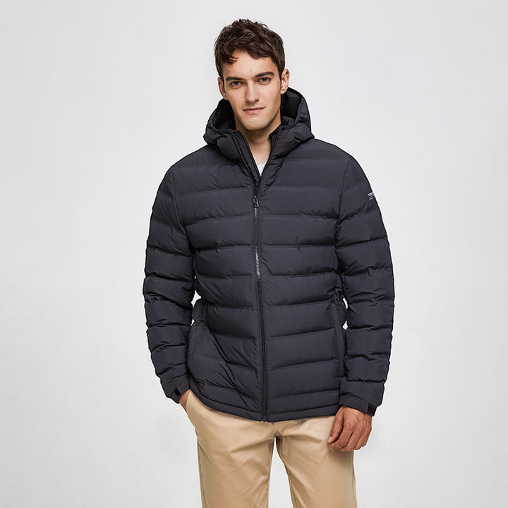 Men's Winter Casual Polyester Thick Parka With Pockets