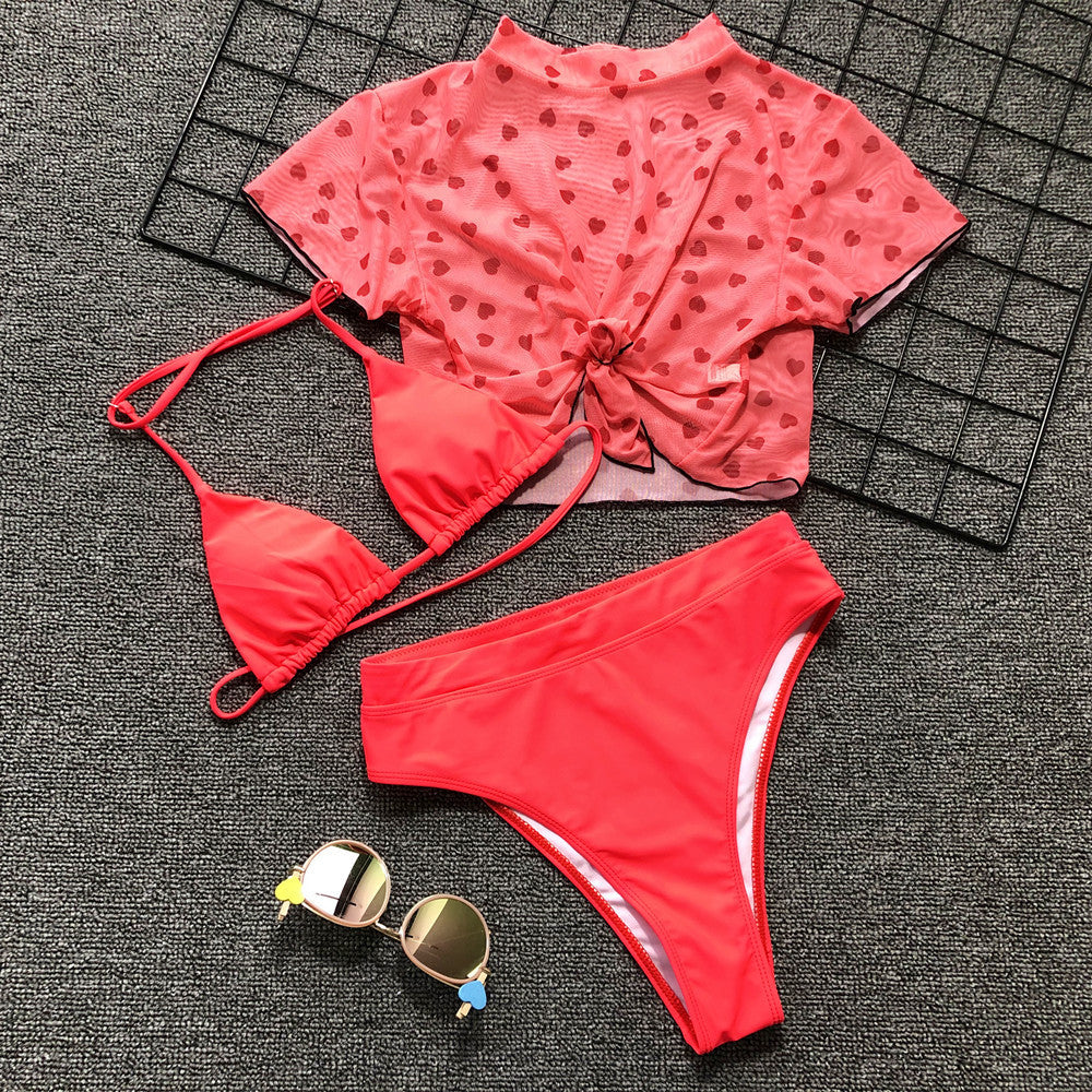 Women's Summer Cotton Two-Piece Swimwear With Print