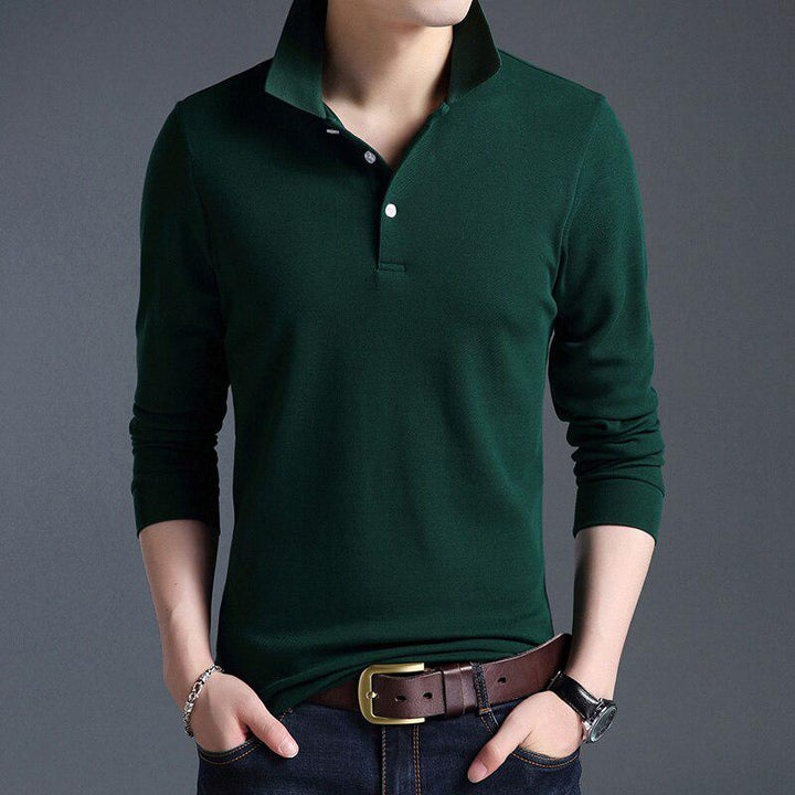 Men's Casual Cotton Long Sleeved Polo