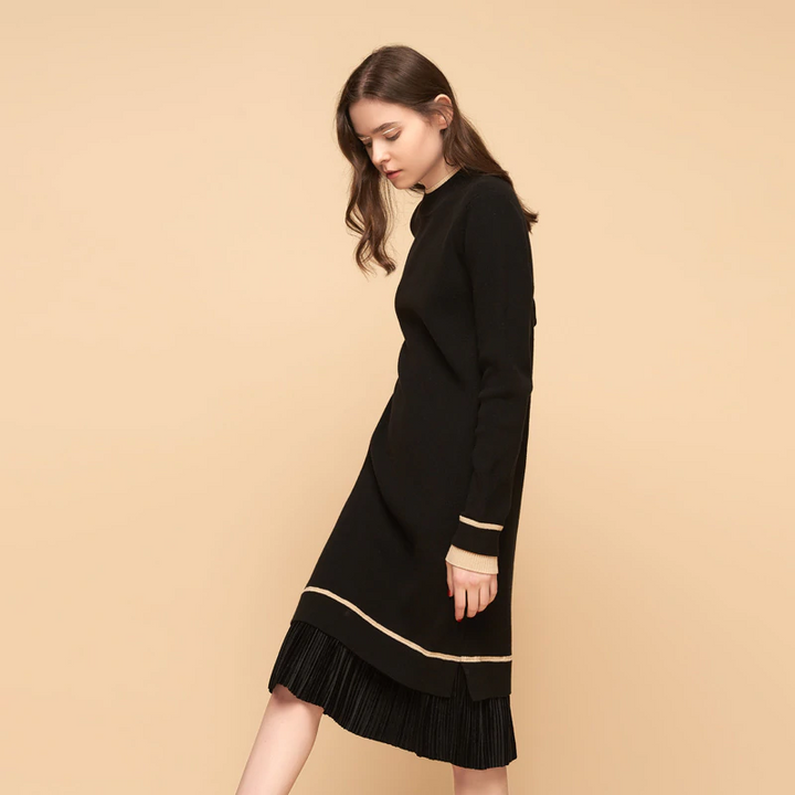 Women's Autumn Knitted O-Neck Long-Sleeved Midi Dress