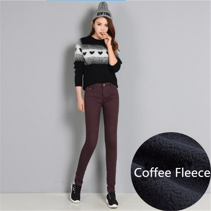 Women's Winter Casual Skinny Pencil Warm Pants With Pockets
