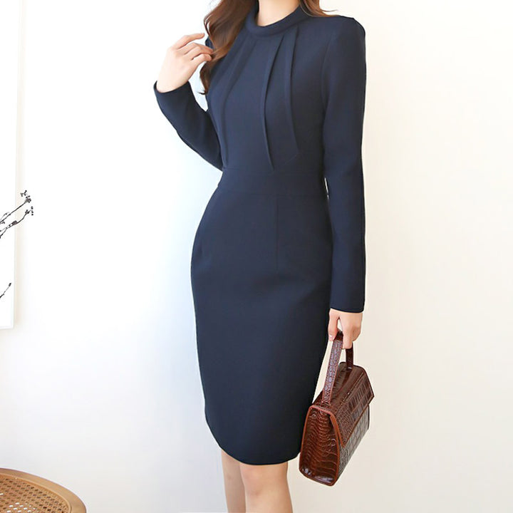 Women's Spring/Autumn Polyester High-Waist Dress