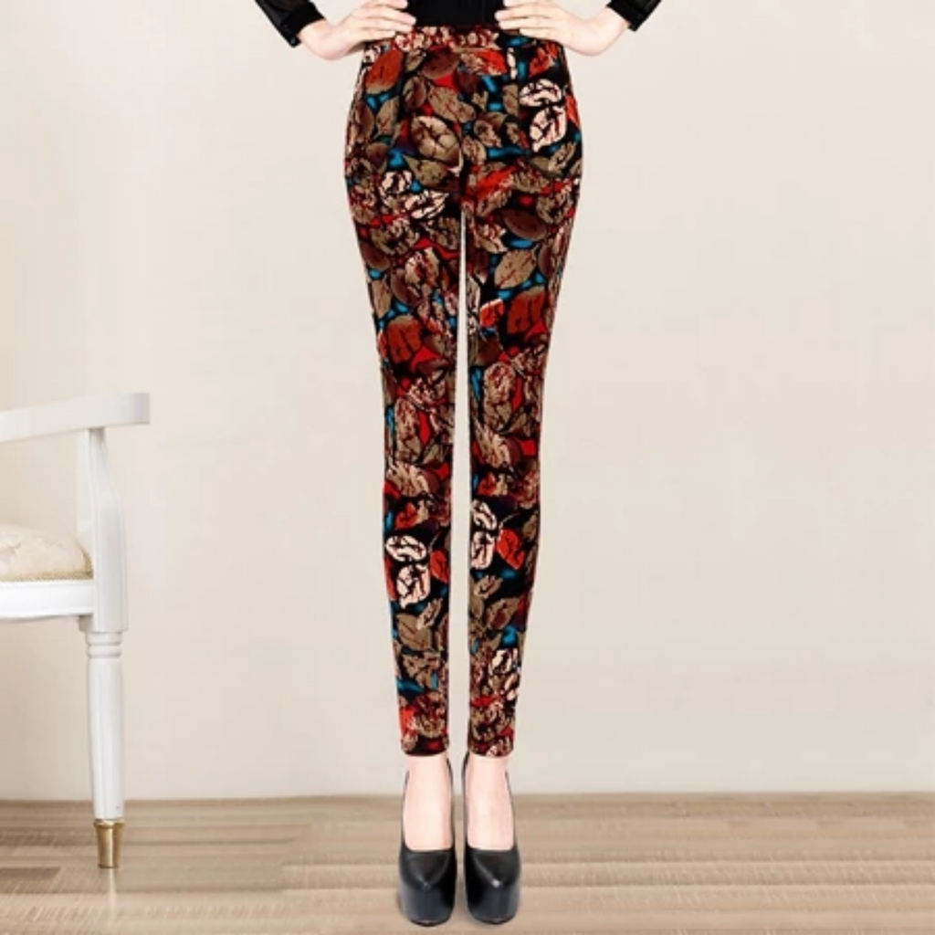 Women's Autumn/Winter Casual Warm Leggings With Print