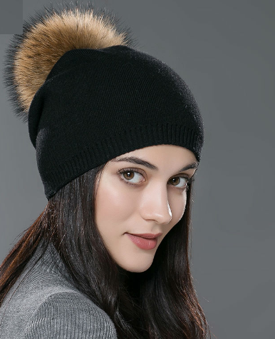 Autumn & Winter Knitted Skullie, With Raccoon Fur - Zorket