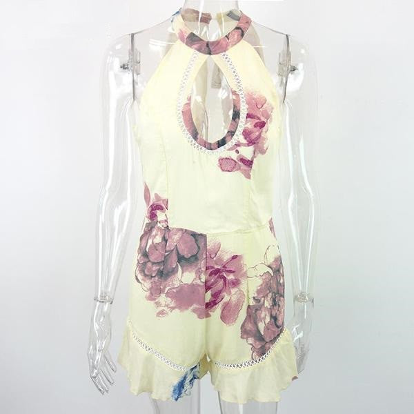Summer Romper With Flower Pattern - Zorket