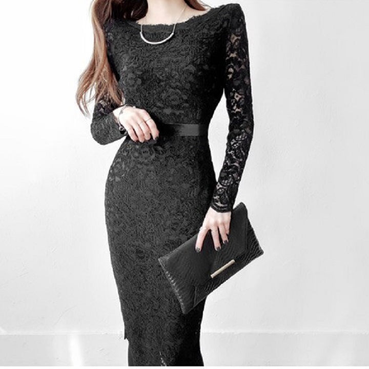 Women's Summer Sheath Long-Sleeved Lace Dress