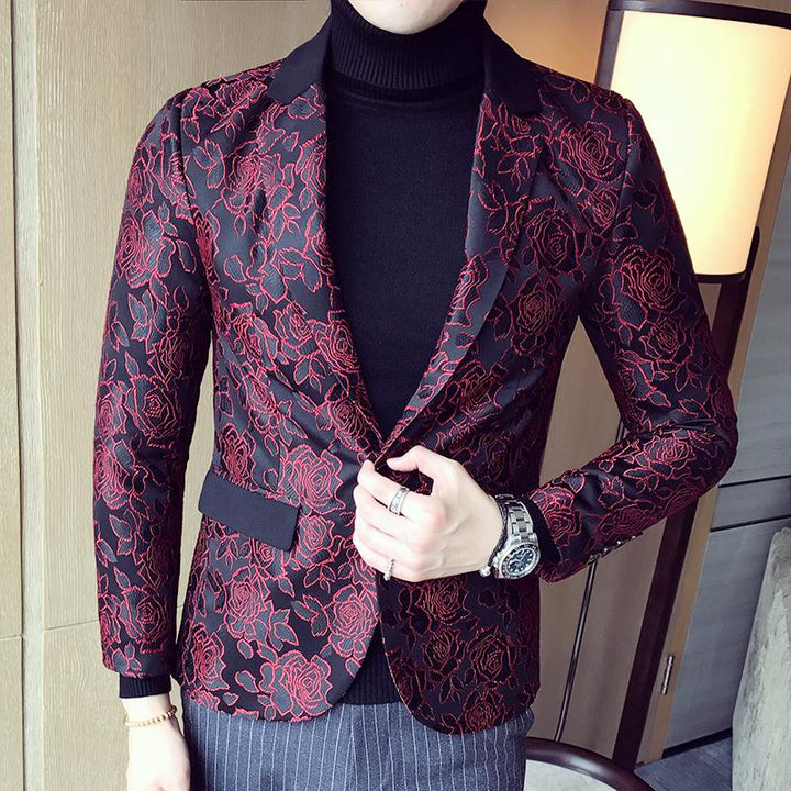 Men's Single Breasted Jacquard Blazer | Plus Size