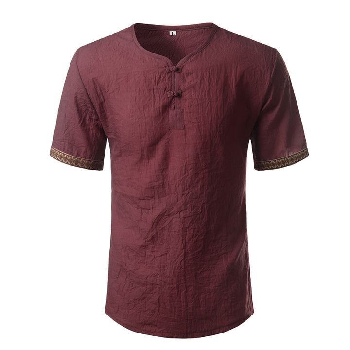 Men's Casual Linen T-Shirt With Print