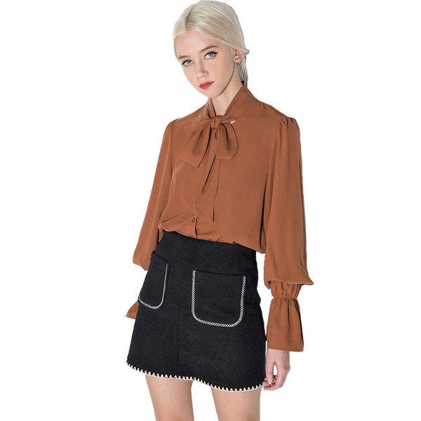 Women's Lantern Sleeve Blouse With Bow