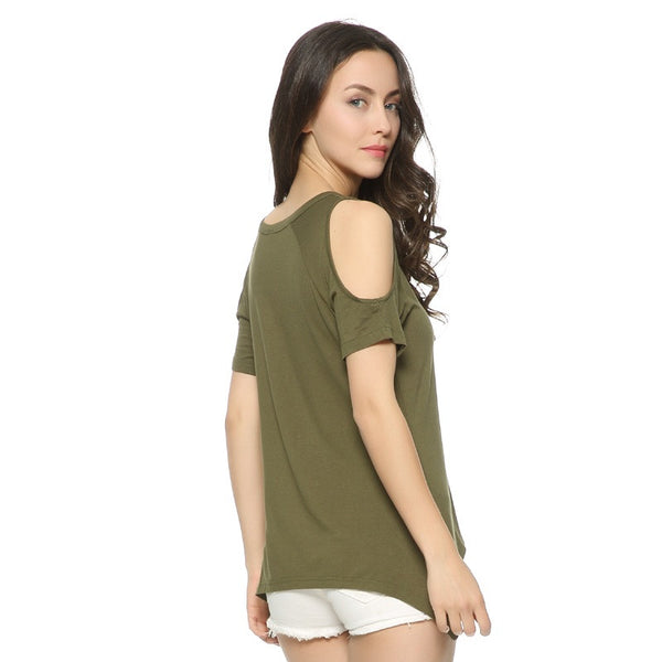 Women's V-Neck Cold Shoulder T-Shirt