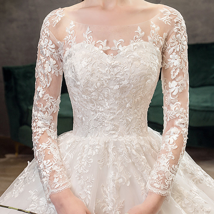 Women's Lace Long-Sleeved Wedding Dress With Brush Train