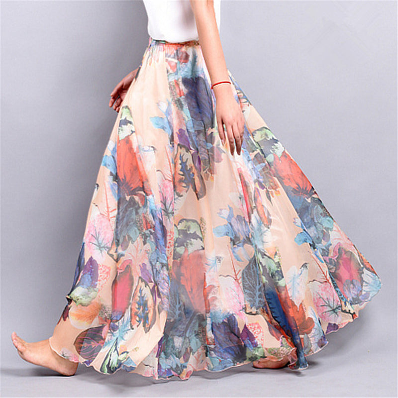 Women's Summer Chiffon Skirt With Floral Print