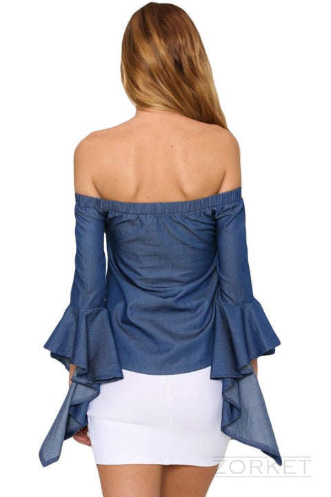 Women's Off Shoulder Bell Sleeve Blouse - Zorket
