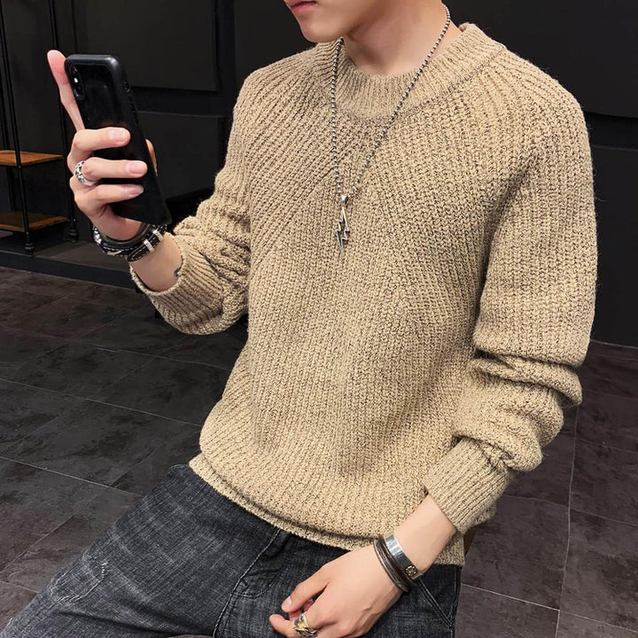 Men's Autumn/Winter Casual Polyester Knitted O-Neck Sweater