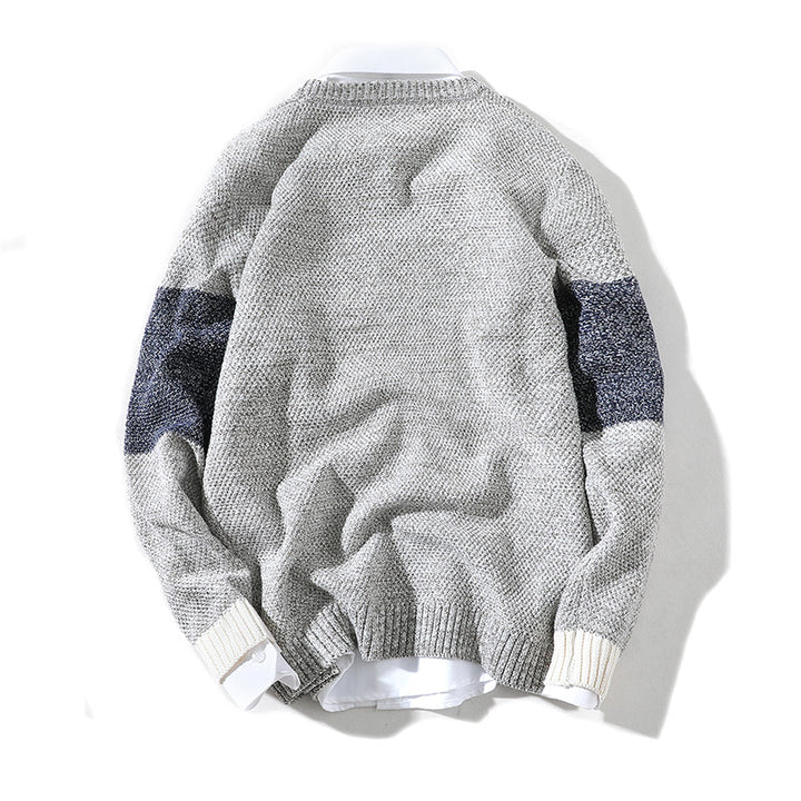 Men's Casual Knitted O-Neck Long-Sleeved Sweater