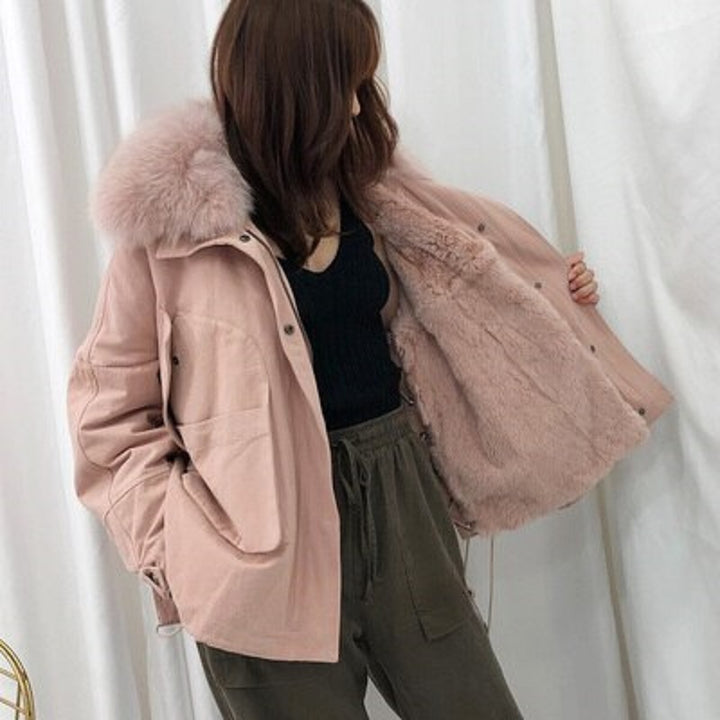 Women's Winter Casual Thick Loose Short Coat With Fox Fur