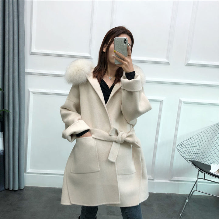 Women's Winter Casual Hooded Long Trench With Fox Fur