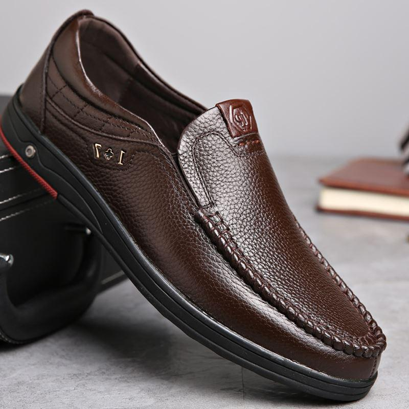 Men's Spring Genuine Leather Shoes | Plus Size